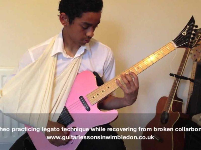 Watch My Student Theo Practicing Guitar Despite Of Broken Collarbone!