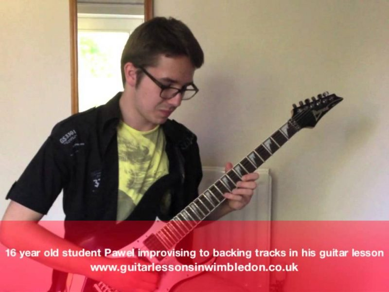 Congratulations To 16 Year Old Pawel For Becoming The Most Improved Student Of The Month! Check Pawel Jamming To Backing Tracks.