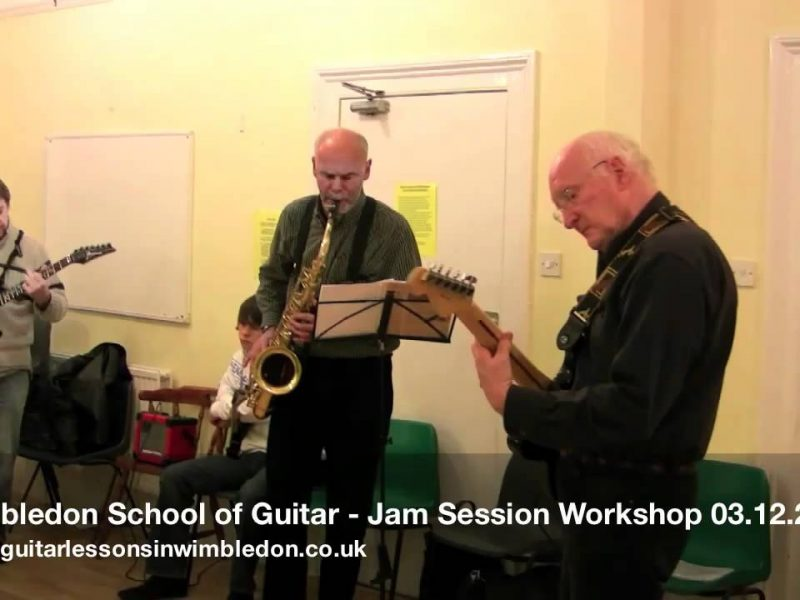 Two Mikes+ Two Phills, Alan And Layla Playing At The Jam Session Workshop At Wimbledon School Of Guitar. 03.12.2010