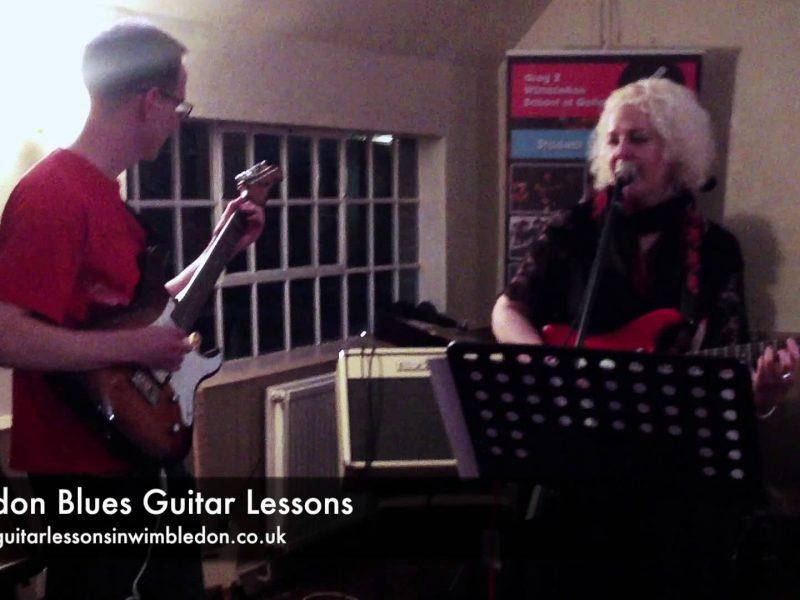 London Blues Guitar Lessons: Deborah, Ian, Greg, Danny And Dennis Playing Mustang Sally At Student Performance Workshop, 01.12.2013