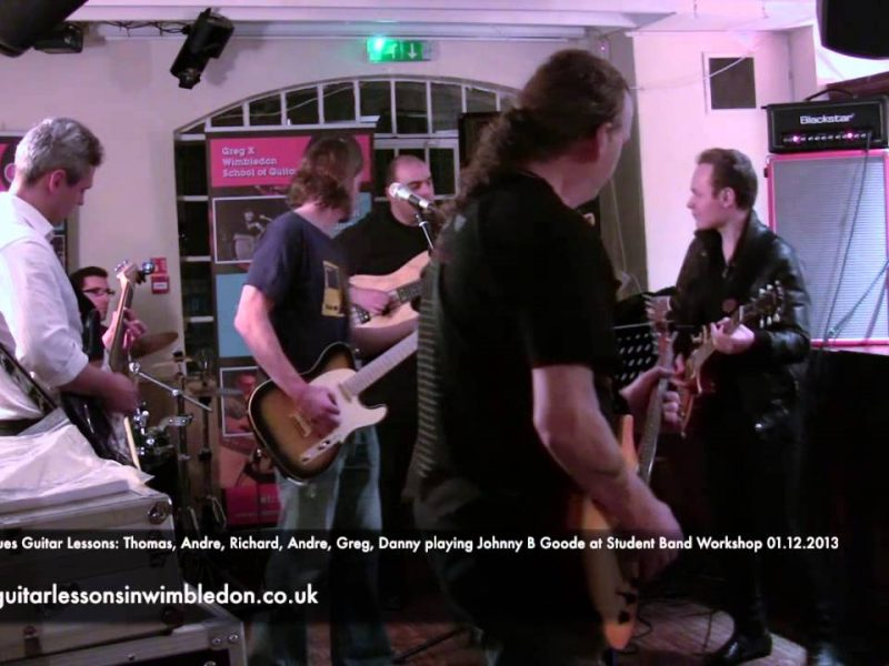 Rock N'Roll And Rockabilly Guitar Lessons In London: Thomas,Danny, Andre,Andrej Greg, Richard Playing Johnny B Goode By Chuck Berry