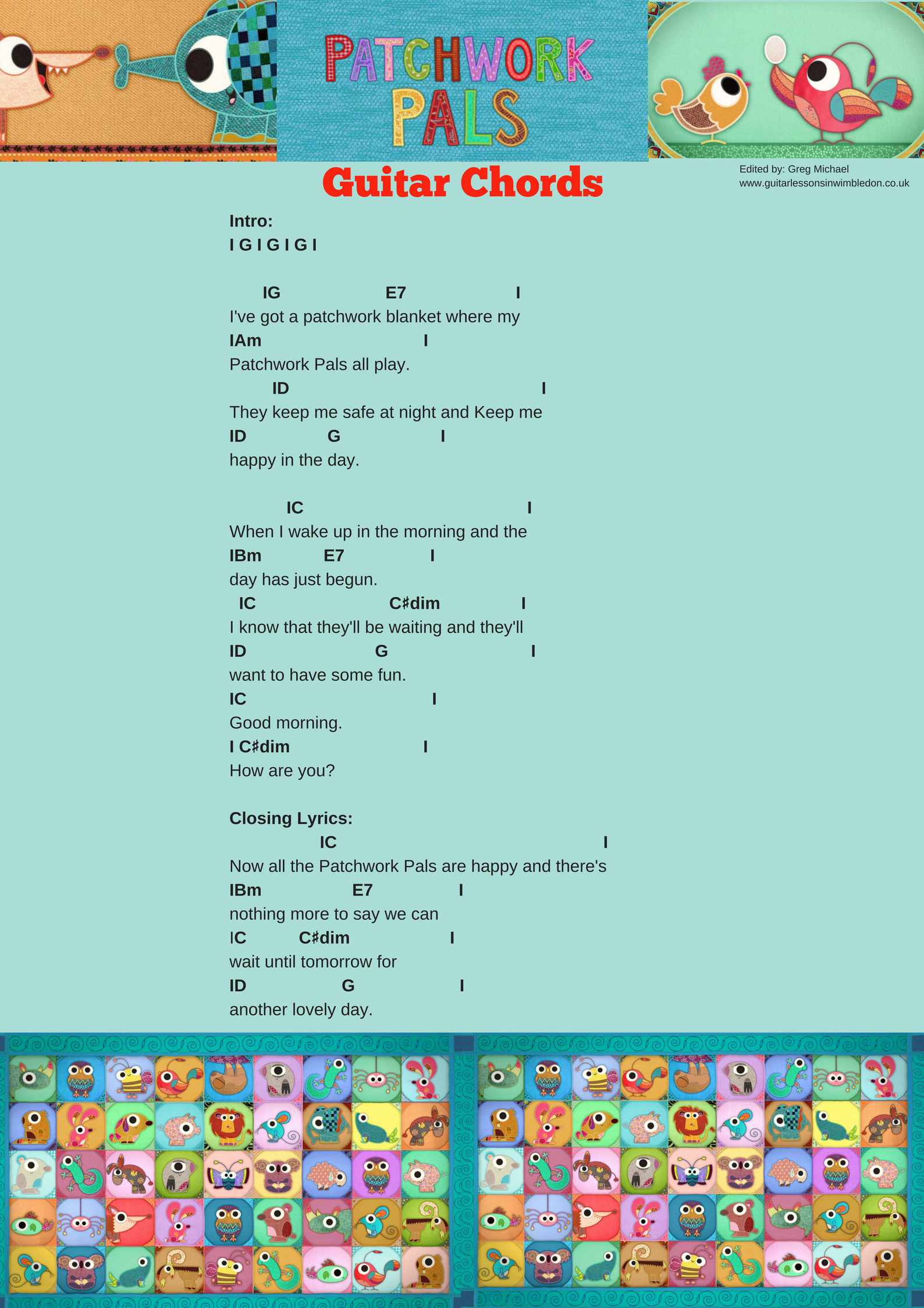 Patchwork Pals Song How To Play Patchwork Pals Theme Song On Guitar