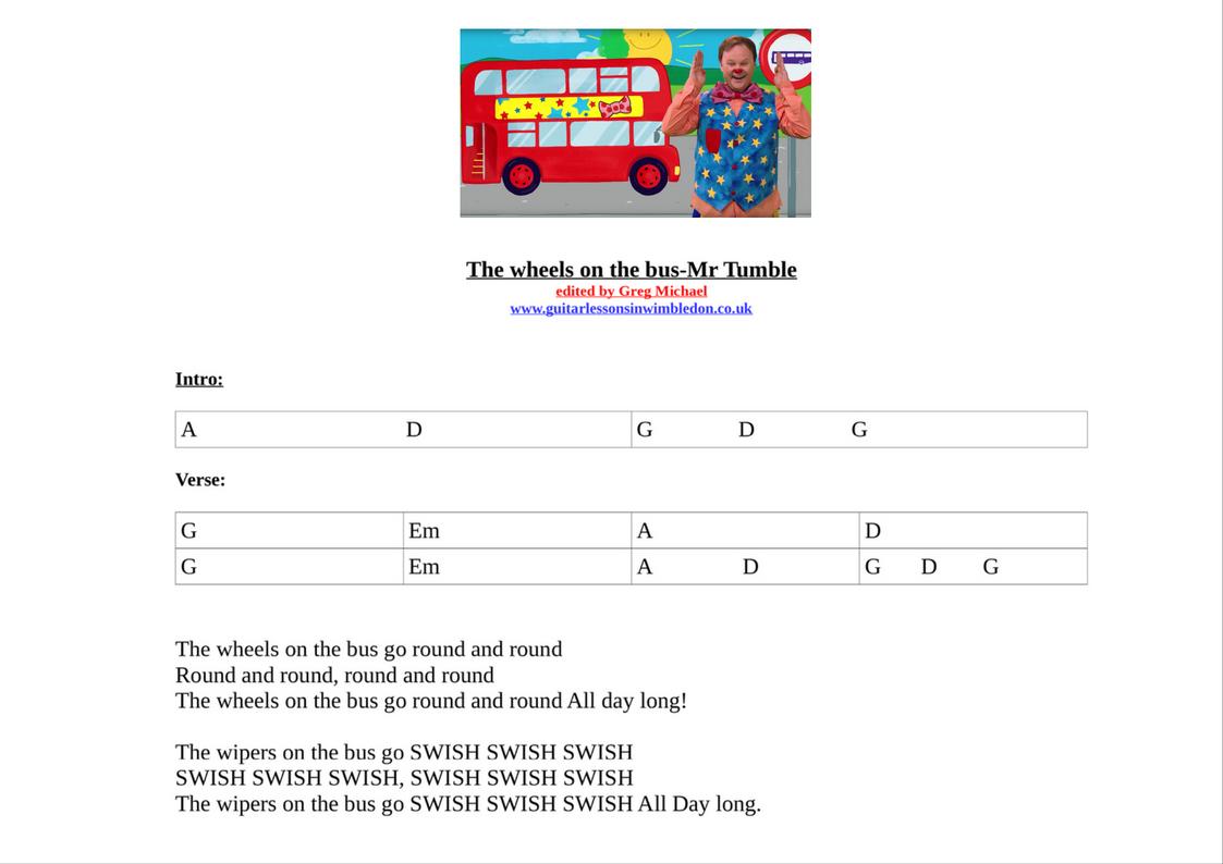 The Wheels On The Bus Mr Tumble Nursery Rhymes Guitar Lesson